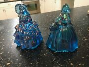 2 Blue Irridescent Carnival Glass Southern Belles - Wheaton Glass Figurines