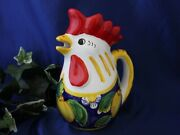 Sicily Italian Pottery Lemon Blossom Rooster Pitcher Painted By Hand In Italy