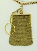 Large Victorian Solid 14k Yellow Gold Mesh Purse Pendant