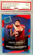 2017 Donruss Rated Rookie Patrick Mahomes Red Press Proof 327 Mint 9 Psa