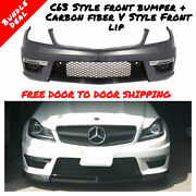Mercedes Benz C63 Style Front Bumper W/ Led Drl For 12-14 W204 C250 C350 W/ Pdc