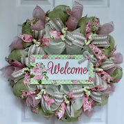Mint And Pink Spring Floral Welcome Wreath Handmade Deco Mesh