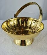 Vintage Solid Brass Bowl With Handle Pedestal And Scalloped Edge Made In India