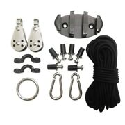 Water Sports Kayak Canoe Anchor Trolley Kit Cleat Rigging Pulleys Pad Eyes F9v6