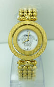 Versace Womenand039s 79q80sd Eon Rotating Ring Mop And Diamonds Dial Ipyg Golden Watch