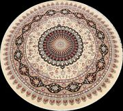 Wool And Silk Floral Traditional Oriental Area Rug Hand-knotted 9x9 Round Carpet