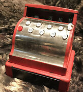 Tom Thumb Painted Red Metal Mechanical Cash Register Toy