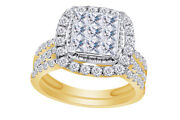1-3/4ct Princess Natural Diamond Halo Ring In 14kt Yellow Gold Over Silver Igi