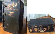 Two Antique Steamer Trunk -with Original Travel Labels In Very Good Condition
