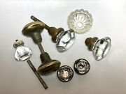 Vintage Glass And Brass Door Knobs Plus 1 Cabinet Knob Selling For Parts Used
