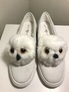 Katy Perry Women's Clarissa Novelty White Owl Suede Slip-on Shoes Sneakers Sz10