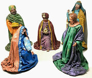 Vtg Jewelry Nativity Paper Mache 3 Kings Holy Family 16 Figures Christmas