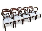 810121416 Plus Beautiful Victorian Style Balloon Back Chairs French Polished