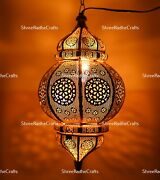 Golden Moroccan Lantern Vintage Handcrafted Lamp Arabian Lights Christmas Gifted