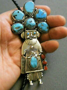 Native American Turquoise Coral Sterling Silver Kachina Dancer Bolo Tie Bert 5