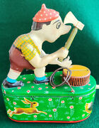 Vintage Tin Toy Mechanical Coin Bank House Foreign Money Box Woodcutter 1960's