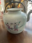 Vintage 1800's Chinese Round Antique Tea Pot With Lid And Wire Handles