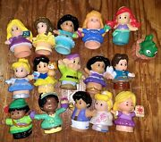 16 Piece Fisher Price Little People Disney Characters And Princess Toy Lot Set
