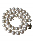 Pearl Romance Round Pearl Jewelry White Strand Pearl Necklace For Women Genuine