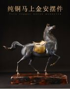 27and039and039 Bronze Copper Casting High Temperature Coloring Animal Tang Horses Statue