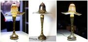 Vintage Hand-blown Glass Lamp Art Deco Style Artisan Lamp With Iridescent Sheen