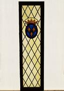 Large Vintage French Stained/leaded Church Glass Panel W/wood Frame Salvage