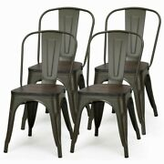 Set Of 4 Metal Wood Chair Stackable Bar Dining Kitchen Vintage Industrial Chairs