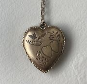 12k Plated Gold Sterling Vintage Victorian Heart Locket Necklace W/ Picture