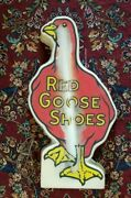 Orig. Lexan Red Goose Shoes Advertising Tabletop Store Sign 23 Tall
