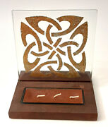New Celtic Knot Glass And Wood Candle Display Artisan Created Brown Wax Gold Foil