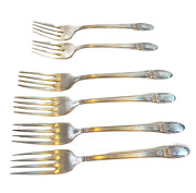 Vtg Set Of 5 Luncheon Forks First Love By 1847 Roger Bros Silver Plated Flatware