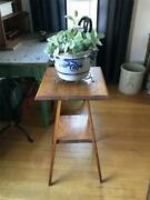 Antique 2-tier Parlor Side Table Hard Wood Plant Stand Victorian Or Primitive