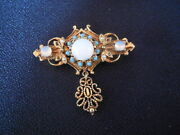 Brooch Costume Retro Vintage Jewelry Pin With Opallike And Tourquoise Stones 2