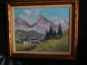 Original Oil Painting Wall Decor Mountain Cabin Scene Signed Prusser Vintage