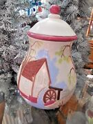 Cookie Jar Hand Painted 12 Tall Cabin Raised Image Collectible Unusual Rustic