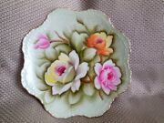 Vintage Lefton China Hand Painted Plate With Roses Collectible Wall Decor