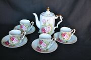 Antique Tea Set Hand Painted Roses Teapot 4 Cups And Saucers Decorative Gold Edge