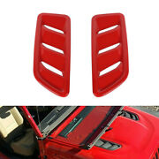 2pcs Car Hood Vents Cover Trim Decorative For Jeep Wrangler Jl 2018-2020 Red Abs
