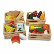 Melissa And Doug Food Groups - 21 Hand-painted Wooden Pieces And 4 Crates
