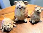 3 Happy Little Pigs Playing In The Mud Figurines Farmhouse Decor