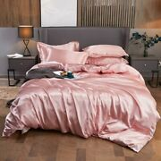 Bedding Set Solid Color Luxury Satin Silk Duvet Cover Bed Sheet Home Textiles