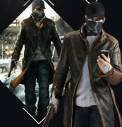 Watch Dogs Aiden Pearce Cosplay Costume Pu Leather Jackets Cap Scarf Sweater Set