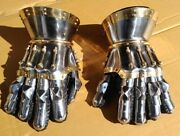 Princely Hourglass Medieval Functional Large 16g Steel Gauntlets Leather Glove