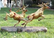 27and039and039 Bronze Art Sculpture Both Two Running Chase Deer Statue Wood Base