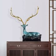 29and039and039bronze Fine Copper Home Decoration Treasure Wealth Luchy Deer Sculpture