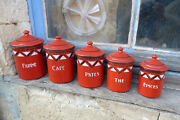 Antique 1900 French Tin Enamel Canisters Enamelware Kitchenware 5 Pieces Art
