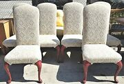 Set Of 6 Country French Damask Upholstered Cabriole Dining Chairs