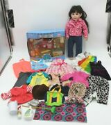 Lot Of 50 Pcs 18 Doll Girl Scouts Food Clothes Accessories Black Hair Grocery