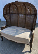Vintage Louis Xv Style Double Caned Canopy Porter Hooded Chair Rare