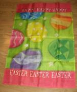 New Large House Flag Happy Easter Easter Eggs 3d Plastic Daisies Embellished Htf